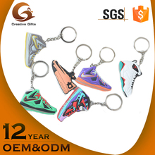Wholesale cheap custom 3d soft pvc rubber running sneaker shoe keychain
