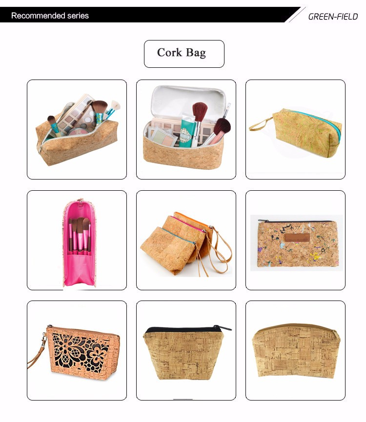 New design cork bag women cork cosmetic bag pouch