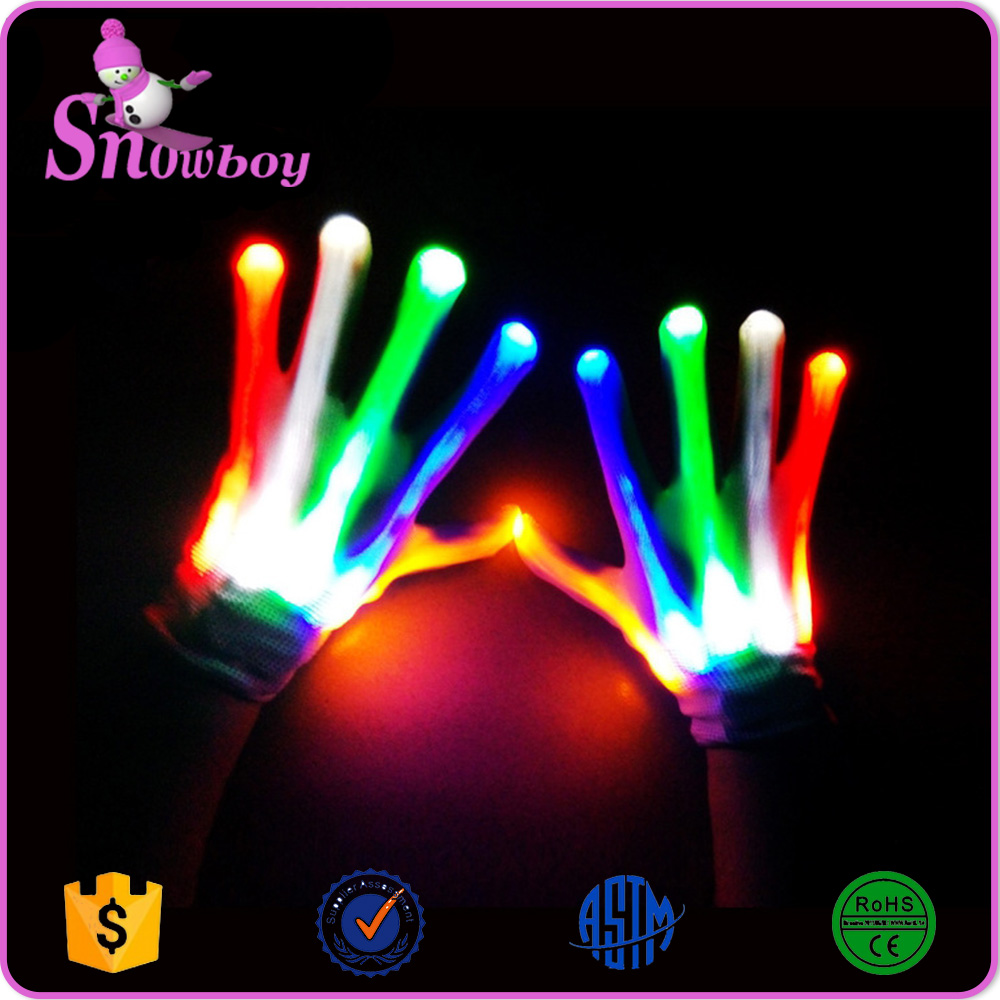 2016 Halloween Custom Led Luminous Gloves for Events, Nylon Light Up Gloves