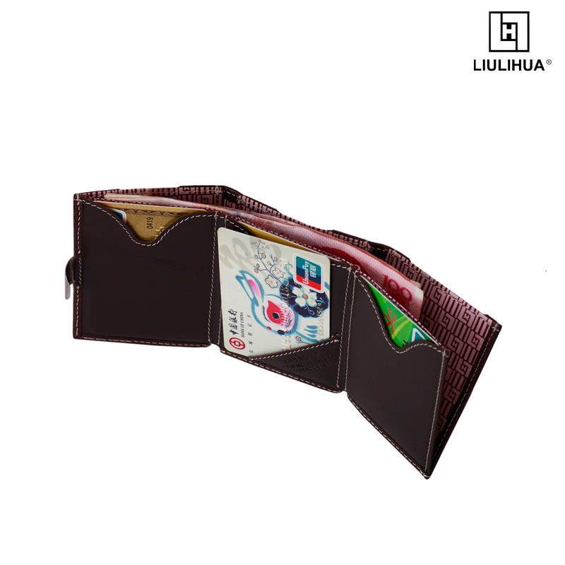 LLH ultimate hot sale wallet stainless steel lock business card card holder wallet genuine leather