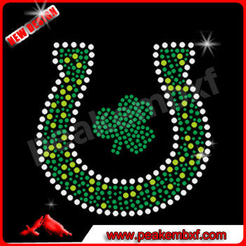 Clevis Irish Rhinestones Transfers Wholesale Bling Iron On Embellishment