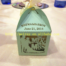 guest wedding gifts ! paper small hot sale mint green chocolate bride and groom wedding gifts boxes