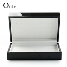China Factory Luxury Black Custom Logo Jewelry Case Box For 70 Rings Earring Solid Wood Ring Display Case With PU Leather Inner