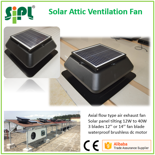 High quality super air extraction heat recovery ventilation roof fan powered by 25 watt solar panel