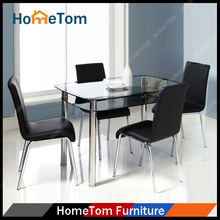Cheap Best Quality 1+4 Furniture Suits Top Tempered Glass Dining Table