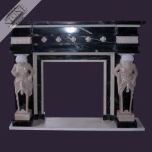 Classic design Indian green marble fireplace with strong man statues