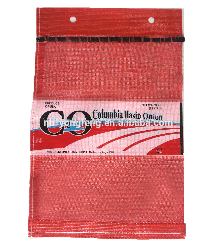 Wicketed Leno Mesh Bags with red lamination both on top and bottom