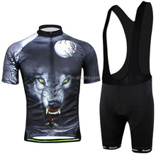 AOGDA Wolf King Short Sleeve Cycling Wear Sers /Bib Sets Bicycle Clothes Cool Cycling <strong>Sportswear</strong> For Outdoor