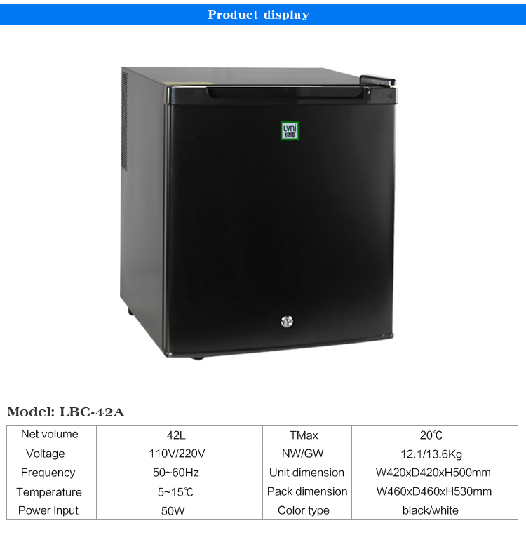 LVNI 2017 latest 42L lockable quiet free standing compact single reversible door hotel room mini fridge refrigerator