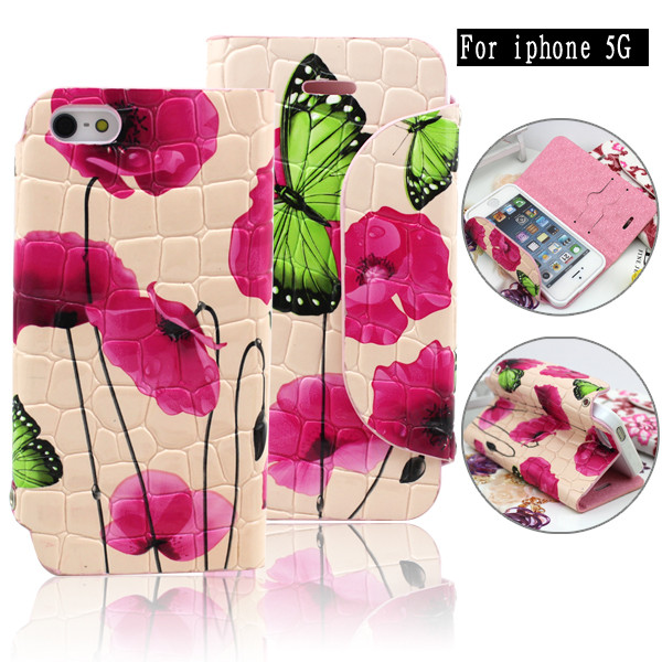 beautiful wallet leather case flip covers for iphone 5 in bulk from china