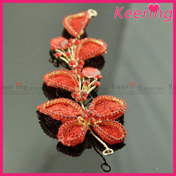 hair decoration red bead flowers for bridal WHD-006