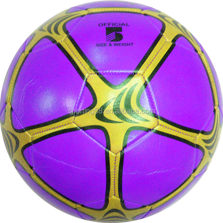 sporting products JFFB022 purple leather soft PU soccer football ball