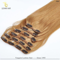 Most Fashion Private Label Top Quality No Shedding No Tangle 100% Remy Hair orange clip in hair extension