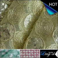 Tulle Mesh Tape Sequins Embroidery Fabric For Dress DSN575