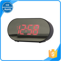 Double USB Mobile Phone Charging Clock Large LED Screen Digital Alarm Clock with Phone Charger Mirror Clock