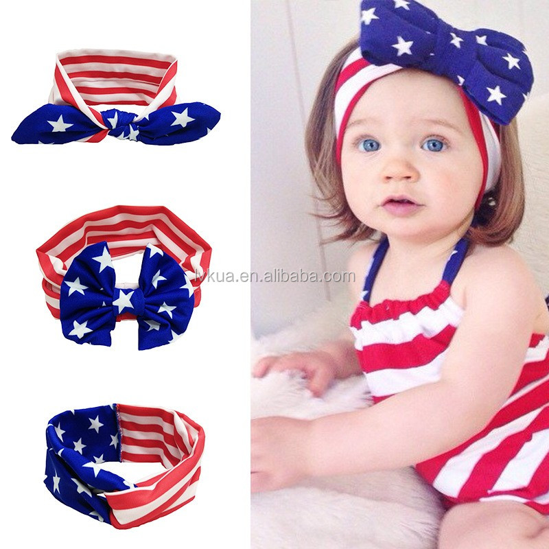 Wholesale Bow Tie Baby Knitted Headband with US Flags