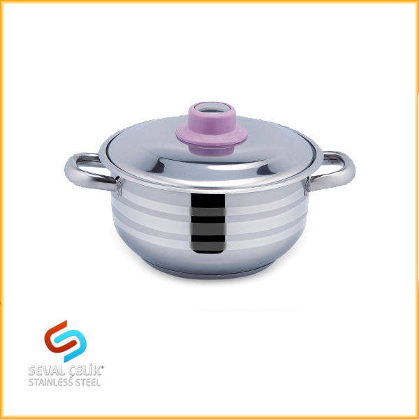 Stainless Steel Cooking Pot Pink Knob