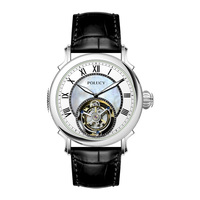 Good quality leather strap fashion men oem silver watches vogue tourbillon watch
