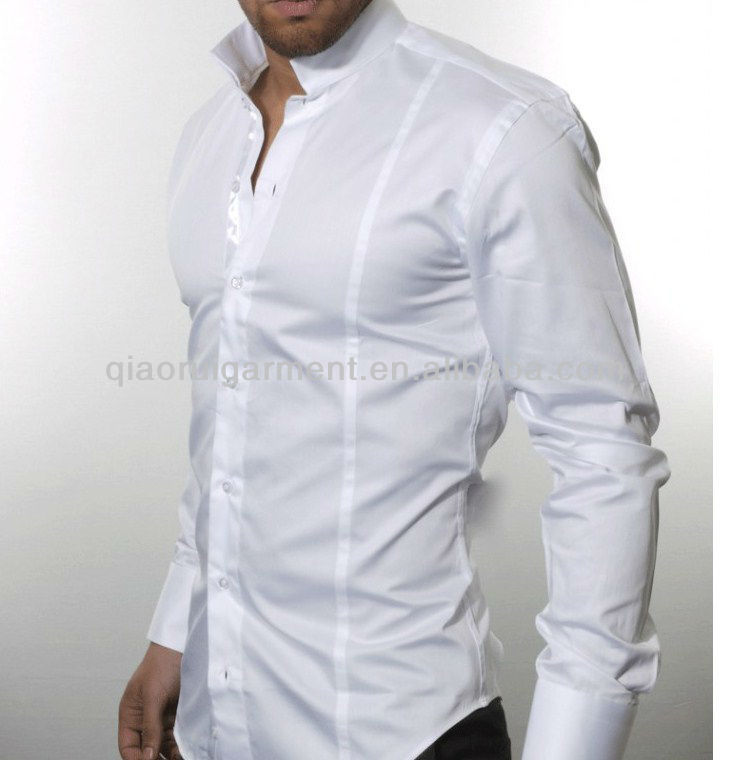 Mens Long Sleeve Banded Collar Shirt