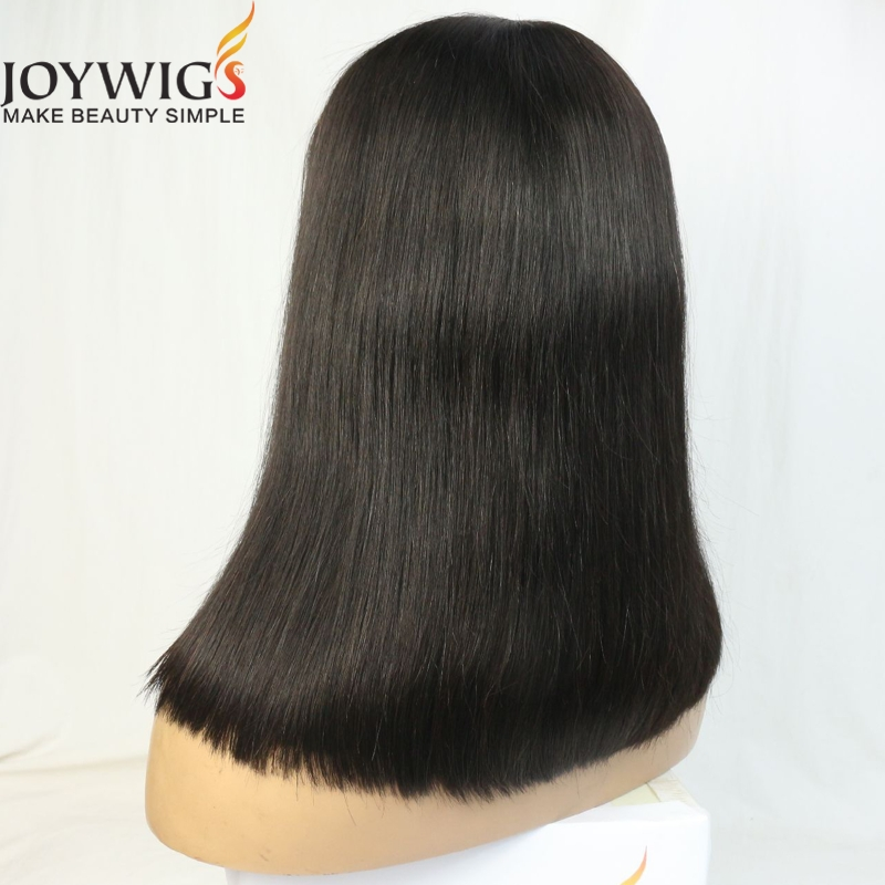 Joywigs 13*5 lace front wig brazilian human hair blunt cut bob wigs with deep clear long parting for black women