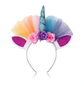 Decorative Hair Band Glitter Metallic Chiffon Flowers Unicorn Horn Girls Headband For Kids Unicorn Party Hair Accessories