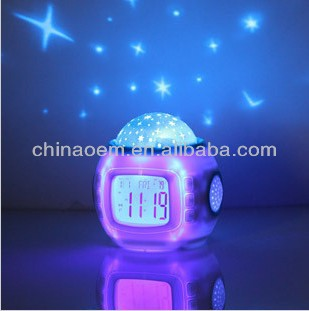 2013 Christmas Gift For Children Starry Sky Projector Digital Music Alarm Clock Calendar Thermometer