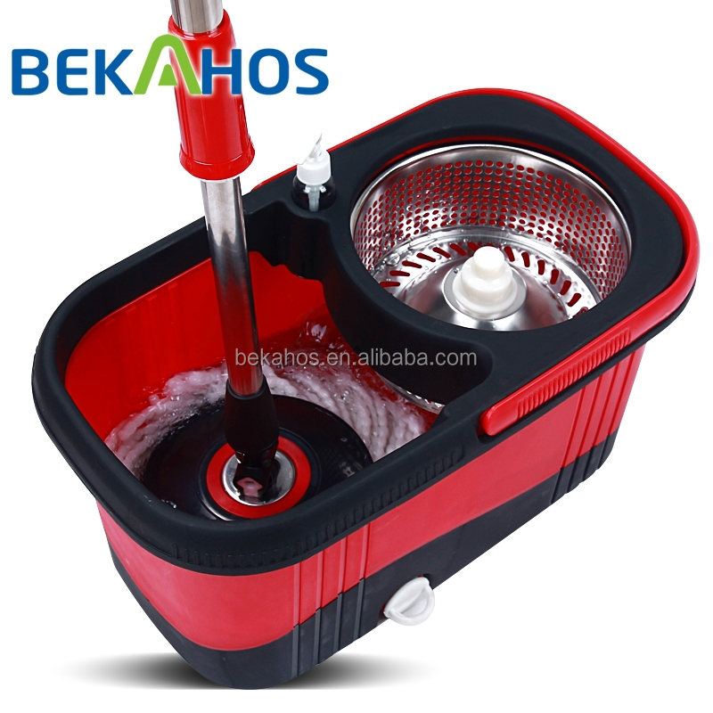 Bekahos Stainless steel basket magic microfiber spin mop