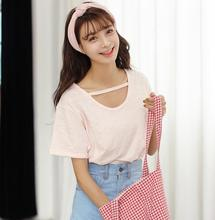 New trend women clothes korean style summer fashion pure color short sleeve cotton sexy ladies tops
