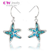 Ocean Melody 925 Stamp Sterling Silver Blue Fire Opal Pendant Earrings Woman Fashion Jewelry From China