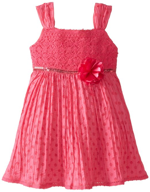 Hot Sale Girl's Fancy Red Color Backless Beach Dress With Flower Belt