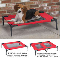 Durable red fabric dog bed