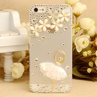 handmade flower transparent back diamond case for iphone 6 plus 5.5 inch Case diamond ballerina DIY 100% bling cover