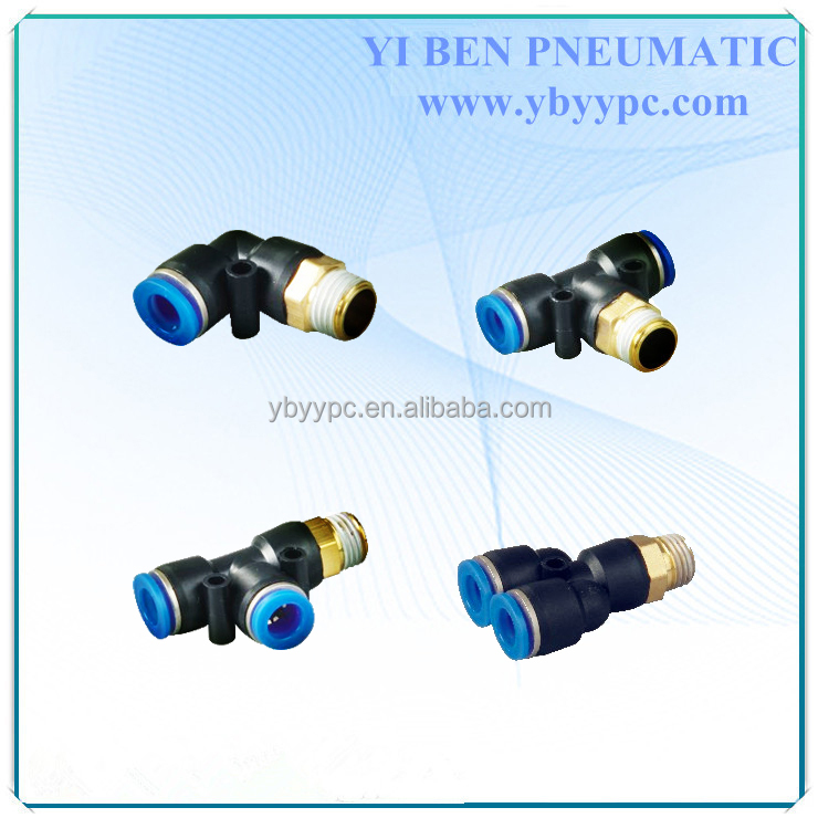 "PB 6-02 tube 6mm thread 1/4"" PT tee pneumatic air fitting for solenoid valve"