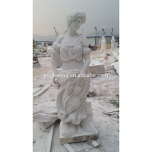 Sichuan White Marble Lady Statue Beautiful Standing Marble Lady Statue Holding Grapes