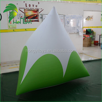 Water Park Promotional Floating Buoy Shape / PVC Race Market Inflatable Triangle Buoy Model