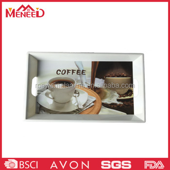 American style custom logo coffee print cafeteria use melamine plastic bread trays for sale
