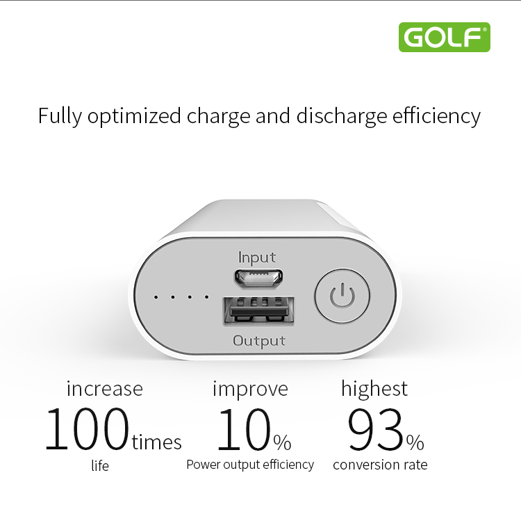 business trip protable golf mobile power bank 5000mah external battery charger
