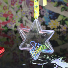 Star shaped plastic transparent ball Christmas tree decoration