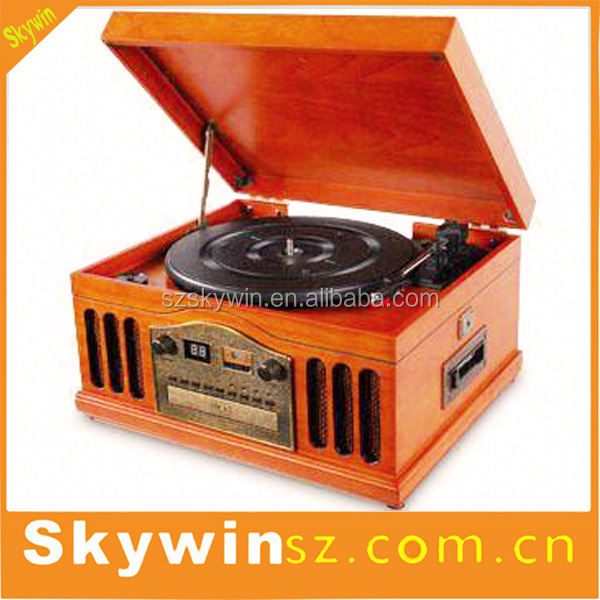 Factory Direct Skywin portable Turntable Player Wooden Bluetooth Gramophone Record Player