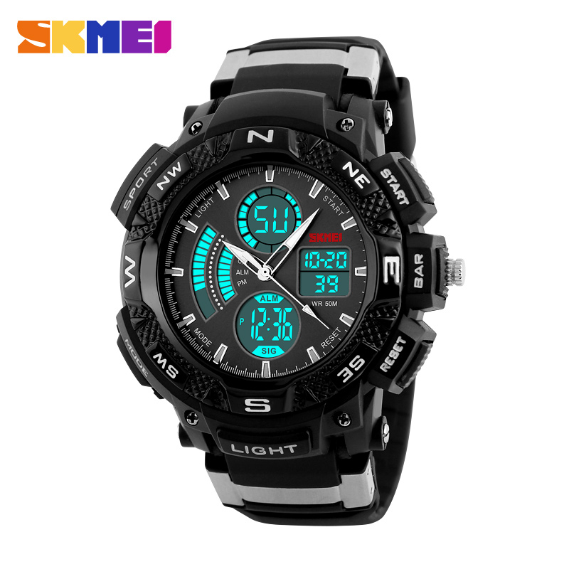 skmei brand analog digital dual time sport watches for men waterproof