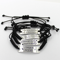17CM Free Customized Your Own Logo Sheet Metal Braided Rope Woven Leather Bracelets
