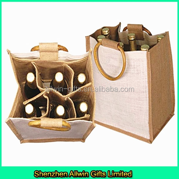 CustomJute 6 bottle wine carrier bag