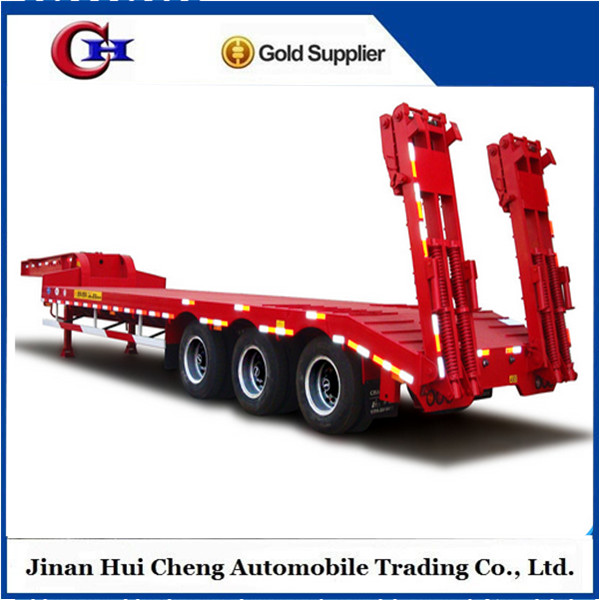 Steel Low Bed Semi-Trailer Utility Machine Truck Lowbed Semi Trailer