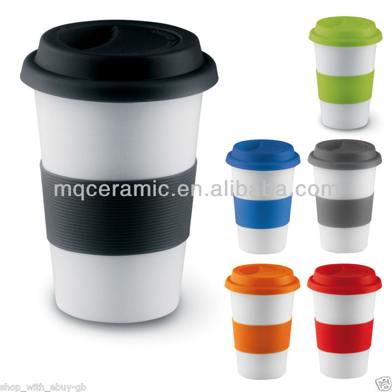 14 oz Ceramic Cup with silicone lid and band