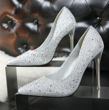 A0116T 2017 Fashionable sweet delicate elegant high heel with pointed head thin point colorlful diamond shoes