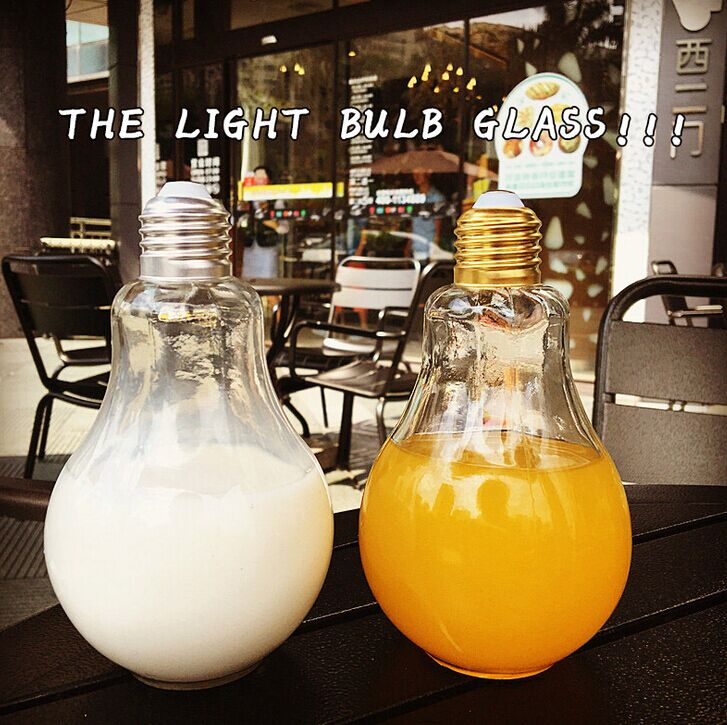 250ml beverage drinking light bulb shape glass juice bottle,storage glass vial factory glass with metal cap