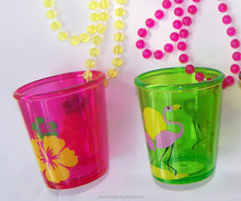 cheap price Saint Patrick's Day Led light Necklace Plastic Shot Glass Necklace
