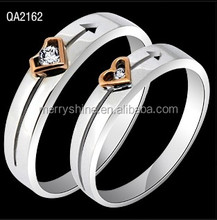 2014 Hot Sale Two Tones Zircon Heart Designs Engagement Couple Wedding Rings Lover Couple Rings QA2162