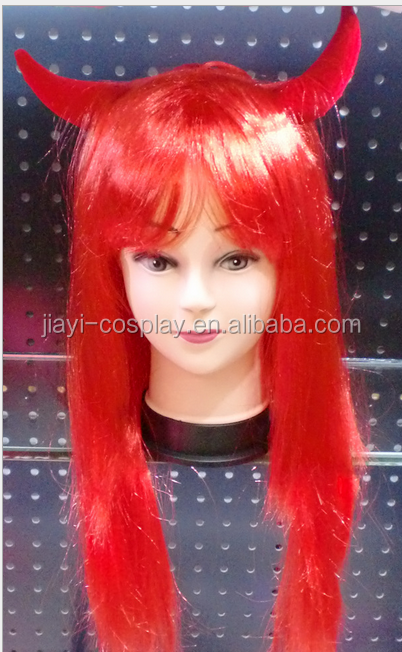 halloween party red devil horns wigs