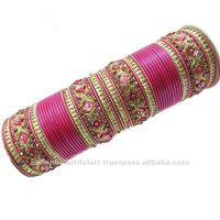 Set Of 56 Pcs Matelic Pink Churi Bangles Bracelet Sz2*4